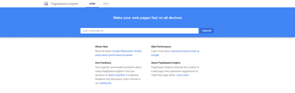 PageSpeed Insights Testing Tool
