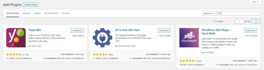 SEO plugins in the WordPress repo