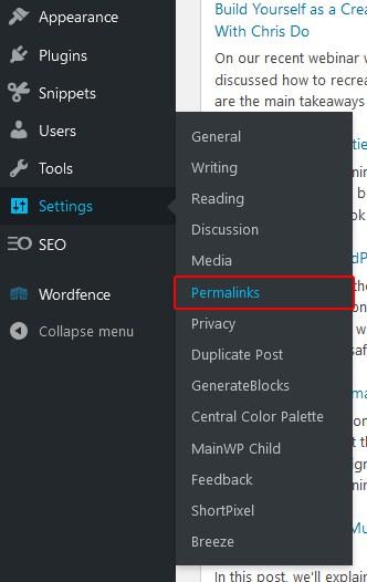 Permalinks in the WordPress dashboard