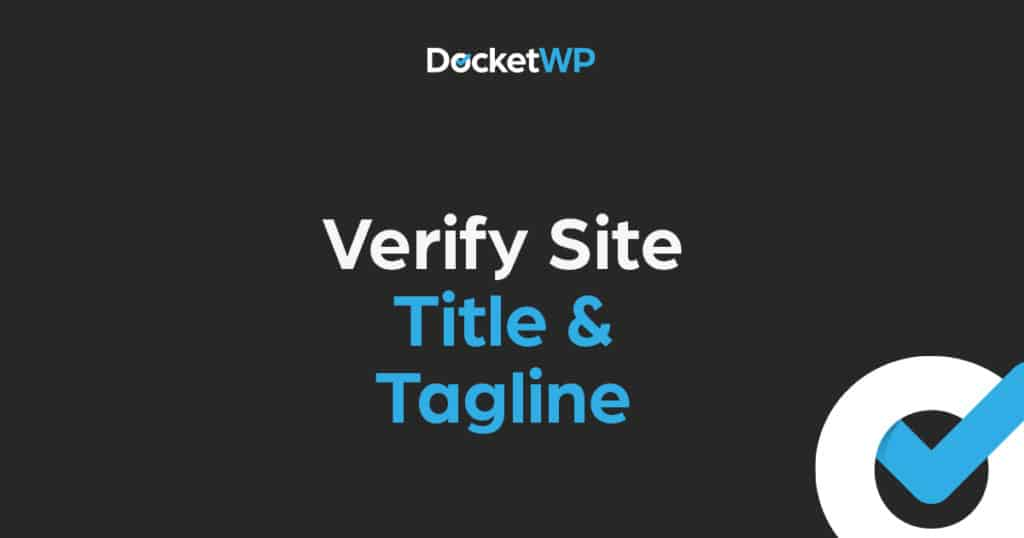 Verify Website Title and Tagline featured image 1