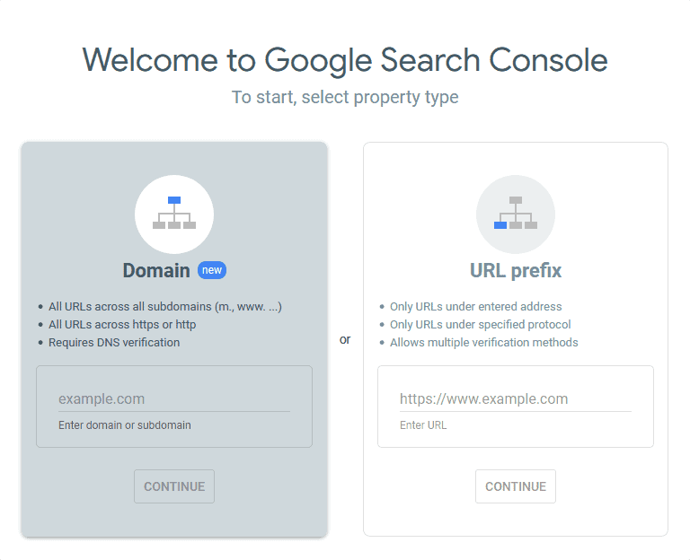 Search Console Welcome Screen