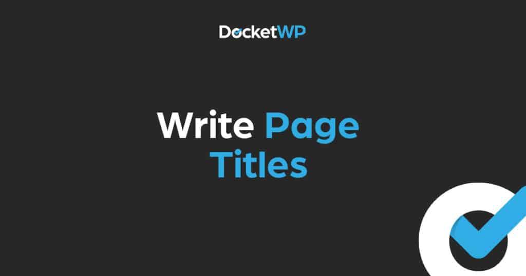 Write page titles 1