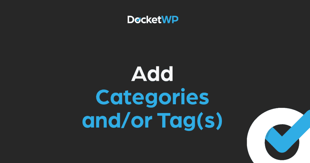 Add Categories and or Tags