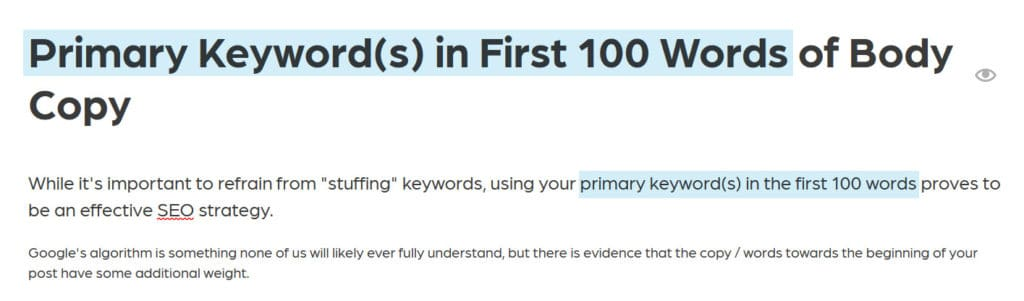 Primary keyword in first 100 words