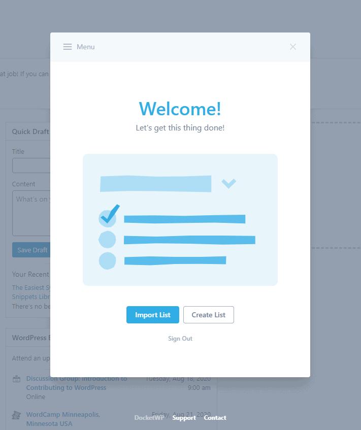 Docket WP Welcome Screen