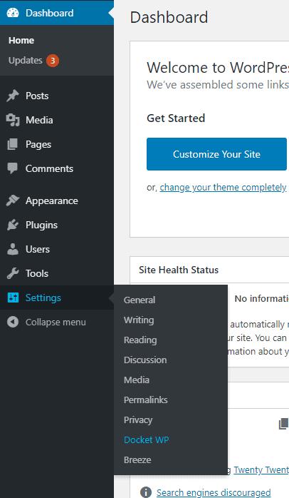 Docket WP WordPress Settings