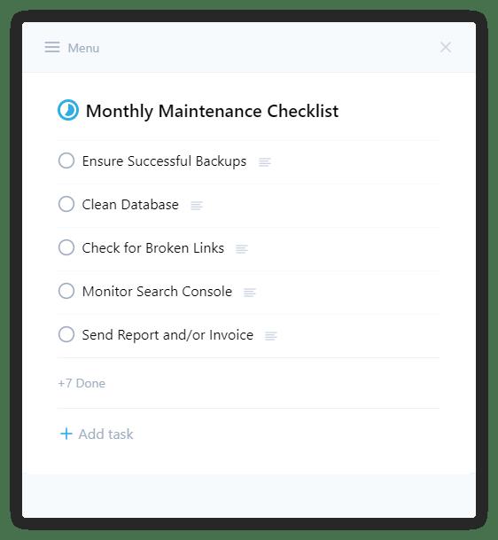 new ui maintenance checklist